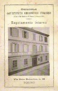 locandina con foto dell'Ospedale Omeopatico di Torino in via Cesare Lombroso 16