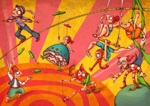 omeopatia alla corte dei miracoli con clown nani e ballerine