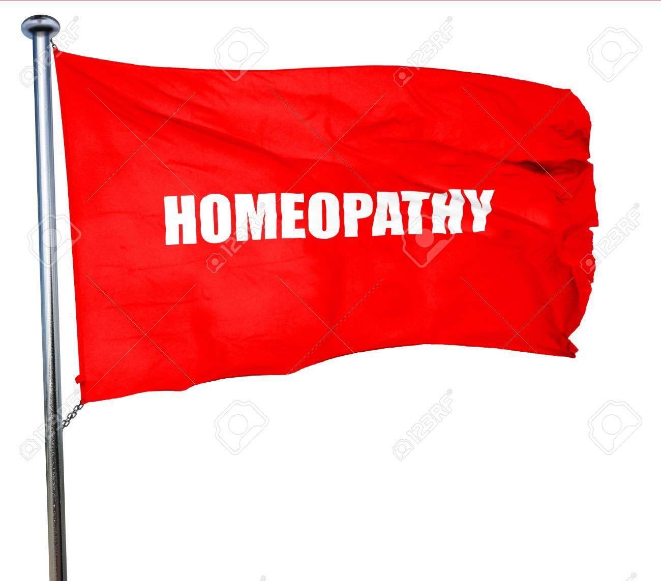 scritta homeopathy su bandiera rossa