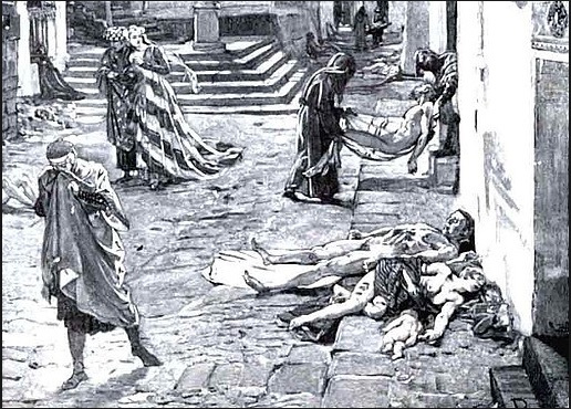 cadaveri per le strade nella epidemia di colera del 1837
